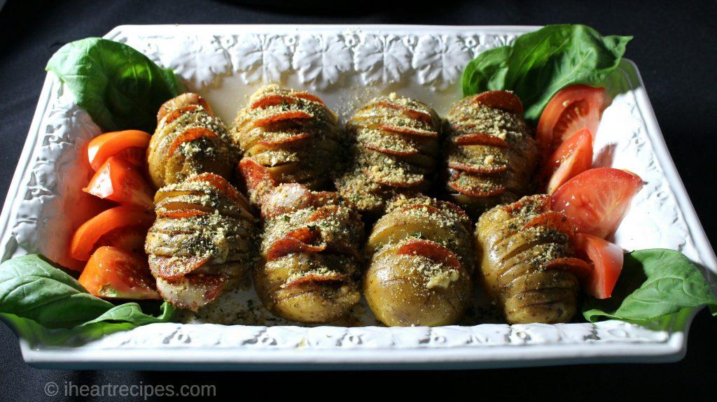 Pepperoni & Cheese Hasselback Potatoes