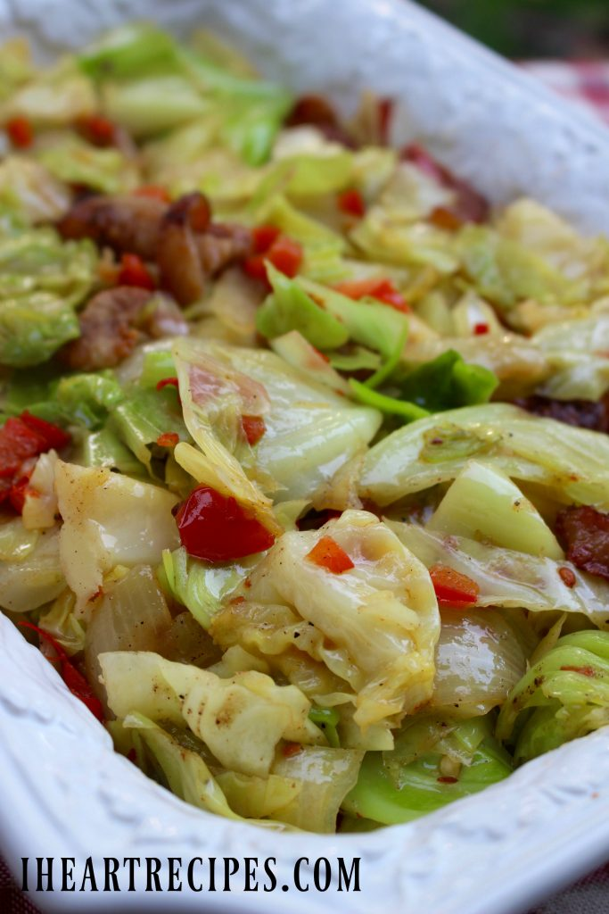 This side is a great southern take on the side salad with the peppers and the bacon in there.
