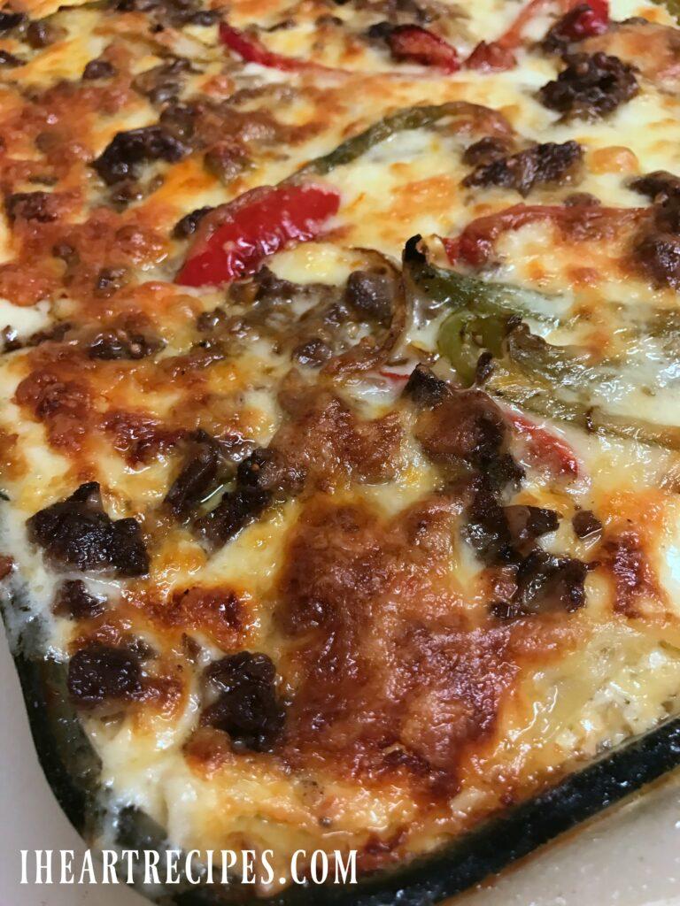 Philly Cheesesteak Lasagna | I Heart Recipes