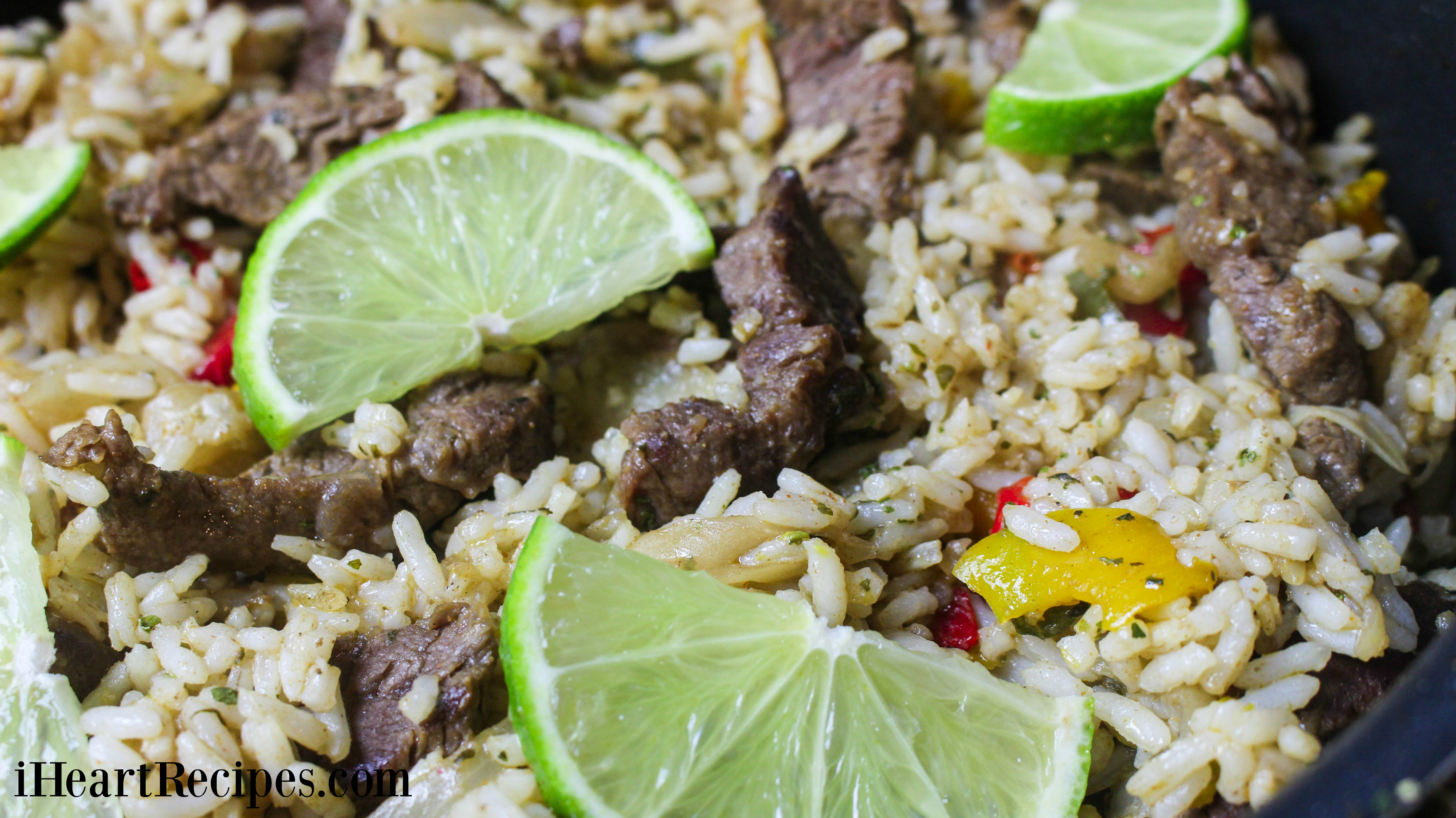 This steak fajita skillet is a quick and healthy meal with white rice and tons of veggies