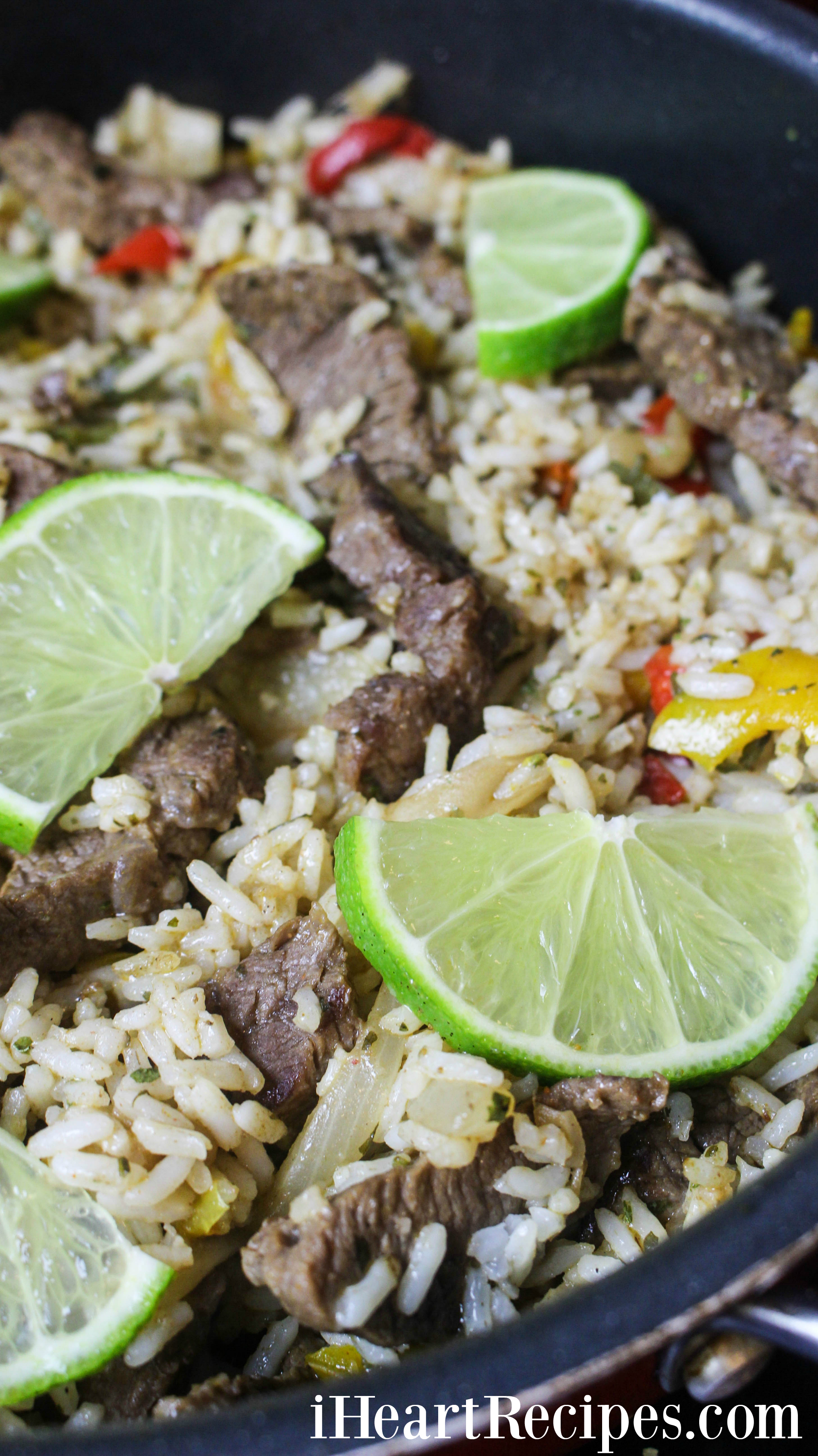 Zesty limes, tender steak and fluffy rice are some of the ingredients that give this fajita bowl all it's flavor