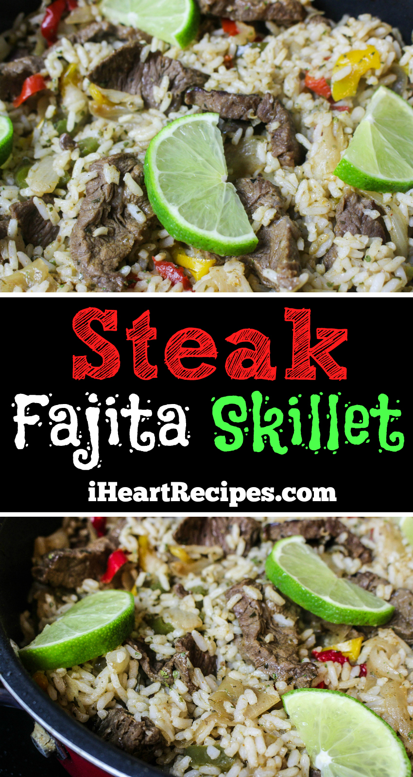 One-pot steak fajita skillet recipe with limes, steak, sweet peppers and white rice