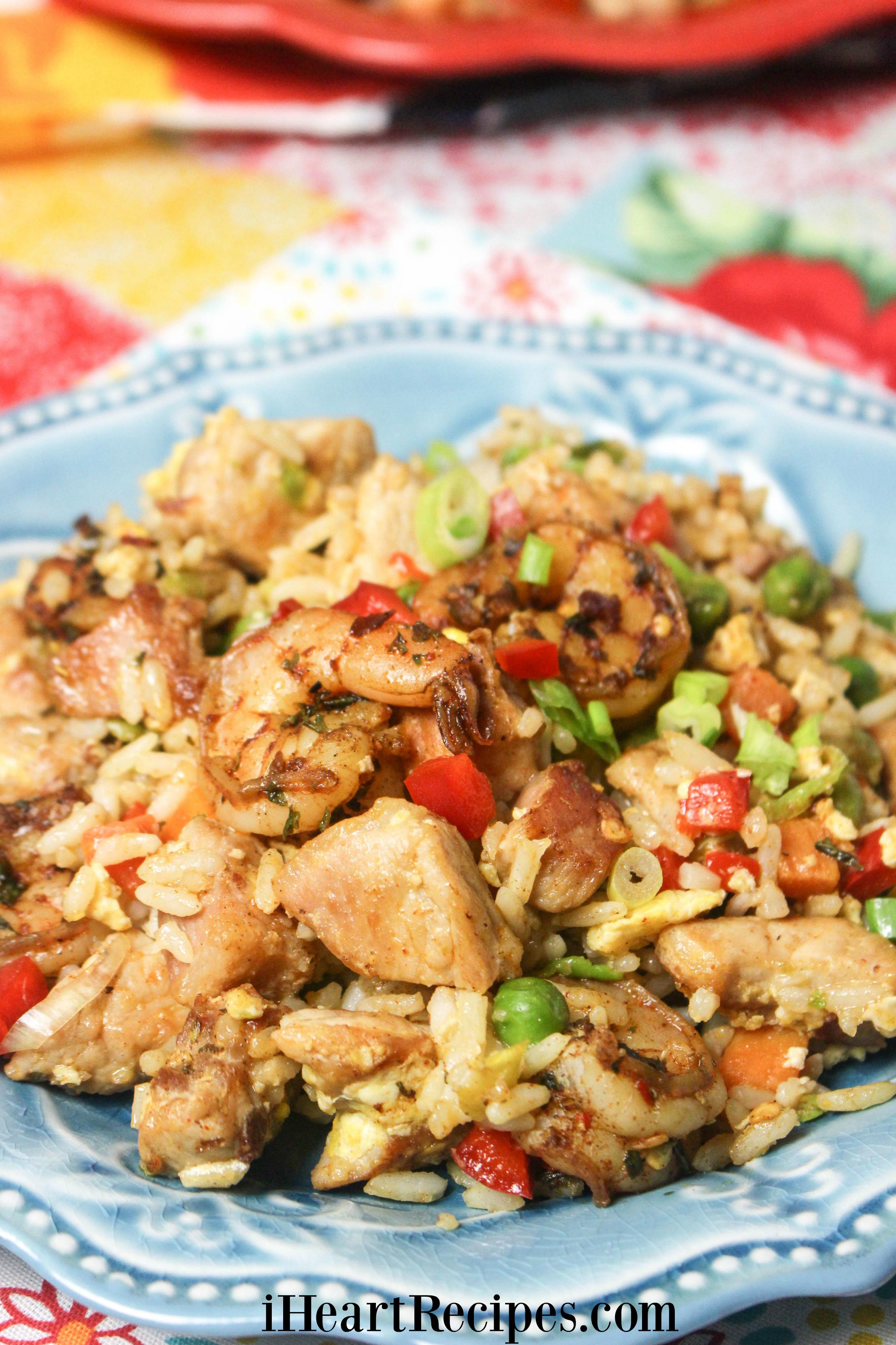 Delicious Pork & Jerk Shrimp Fried Rice
