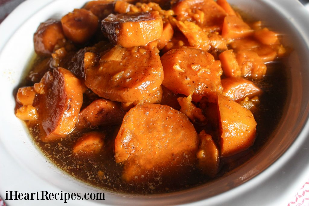 These Slow Cooker Southern Candied Yams are easy to make, you'll love the syrup it's cooked in.