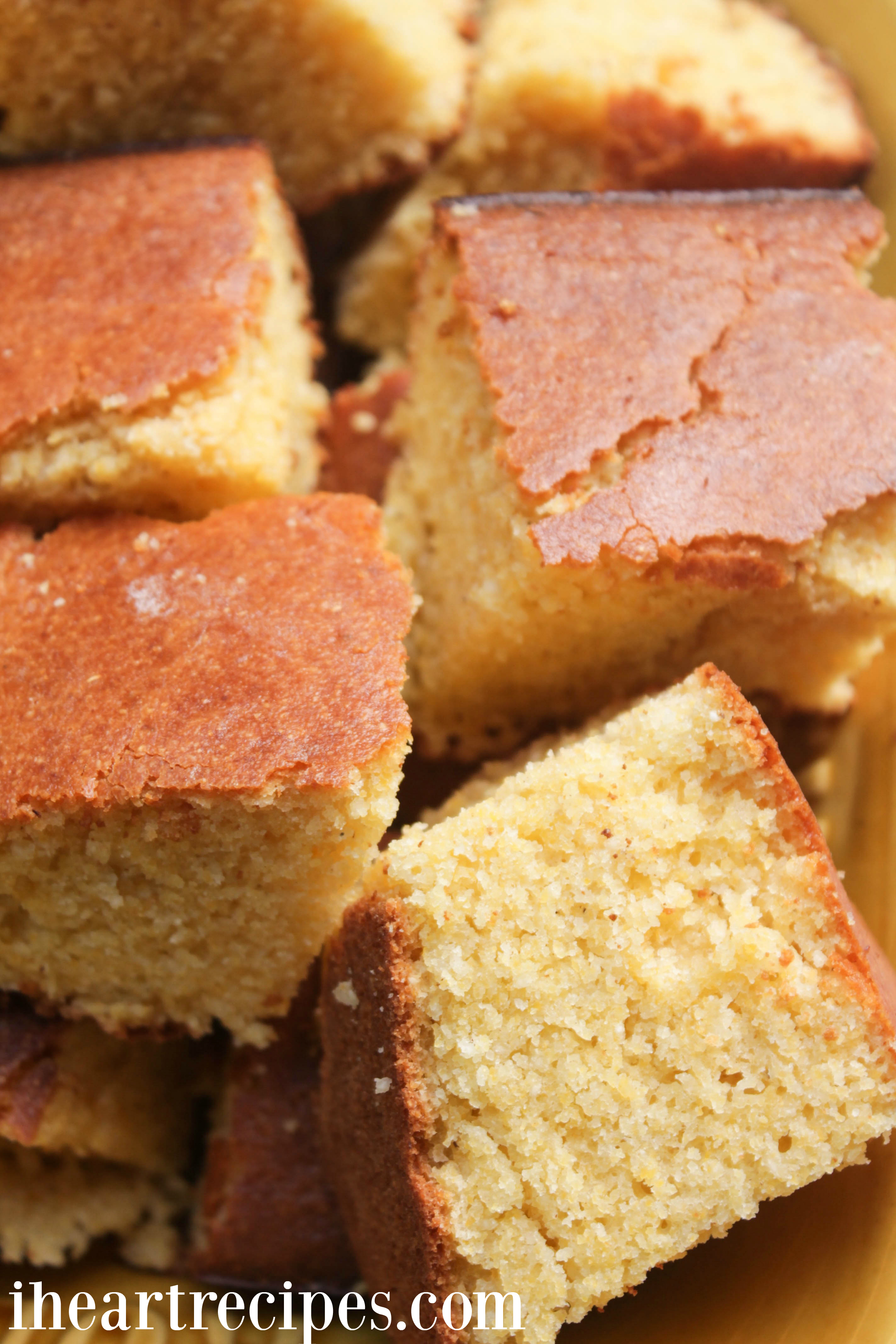 Sweet and delicious cornbread with a golden brown crust and sweet, moist inside