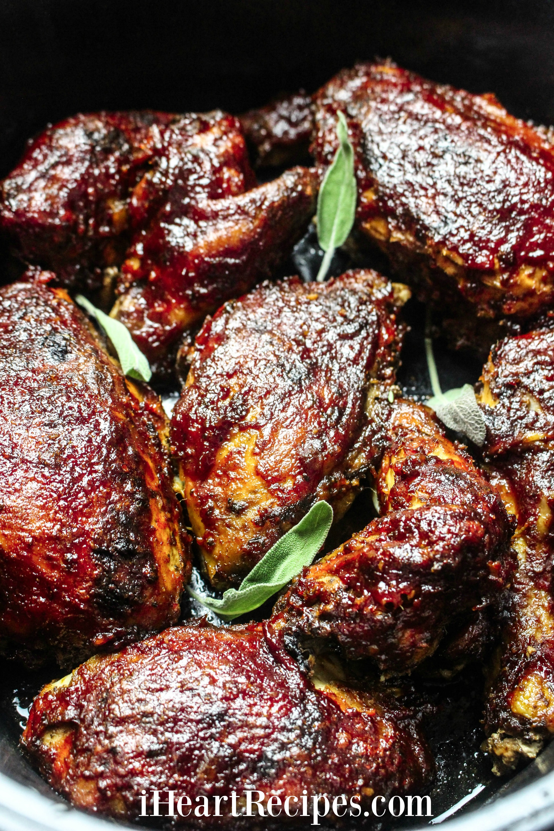 Slow cooked BBQ chicken with tangy sauce