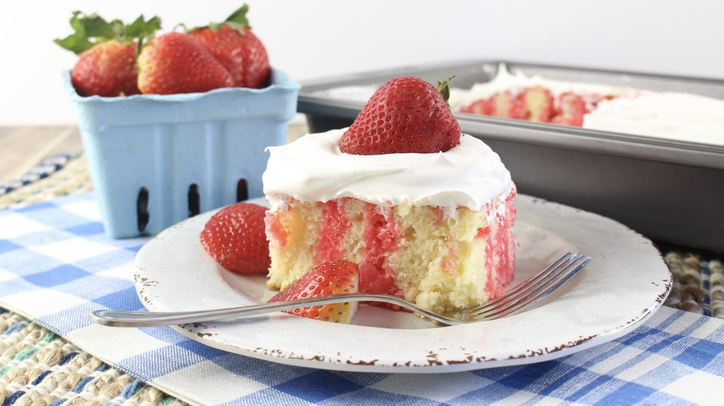 Strawberry Jello Poke Cake from I Heart Recipes