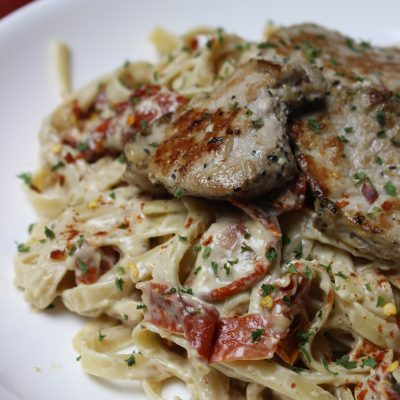 Grilled Pork & Sun Dried Tomato Alfredo
