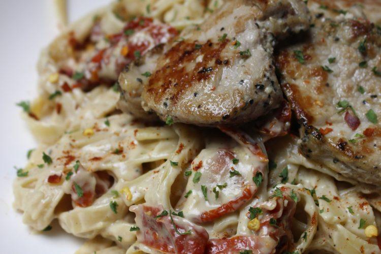 Grilled Pork & Sun Dried Tomato Alfredo