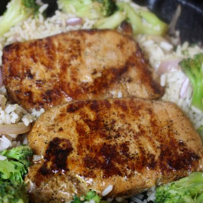 Pork Chop, Rice, & Broccoli Skillet
