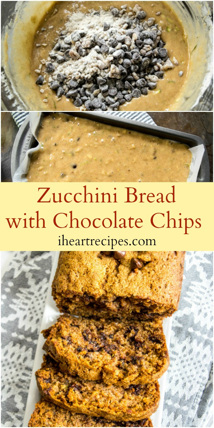 Zucchini Bread with Chocolate Chips is simple, moist and sweet!