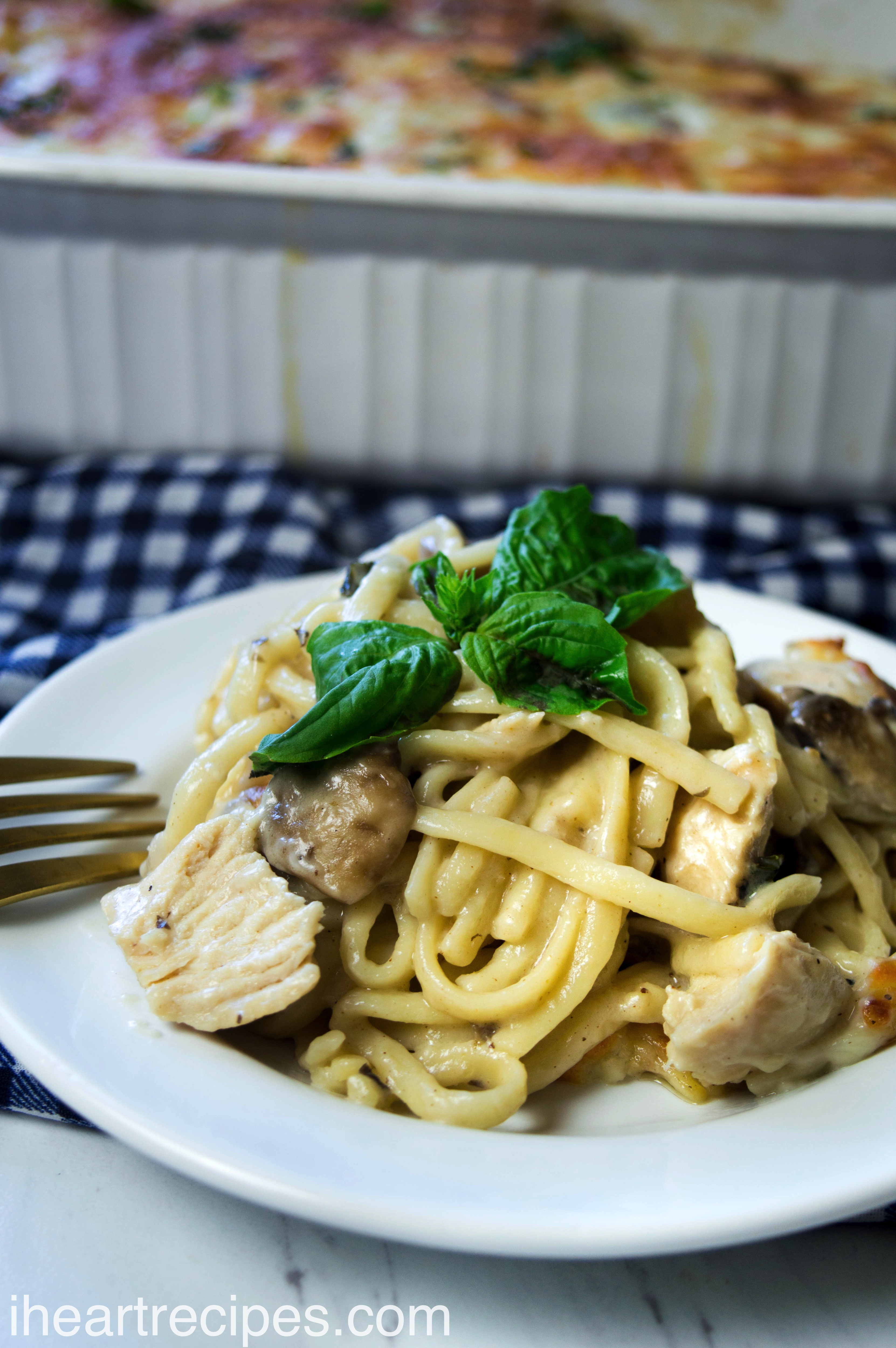 This creamy chicken tetrazzini can be made with leftover chicken to cut down on cooking time.