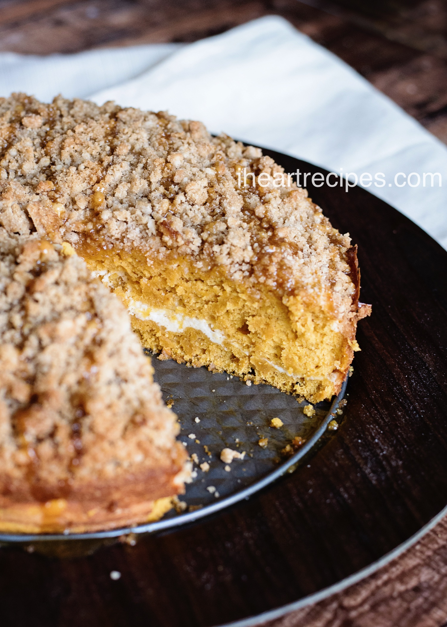 The coffee cake crumble is drizzled with a sweet caramel sauce