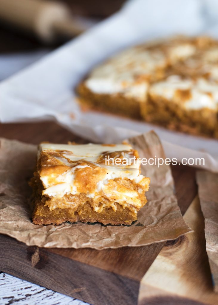These soft and gooey pumpkin cheesecake bars are topped with a pumpkin swirl cheesecake