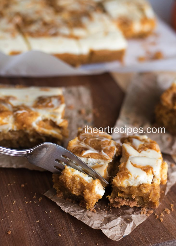 These sweet pumpkin cheesecake bars are so soft and creamy!