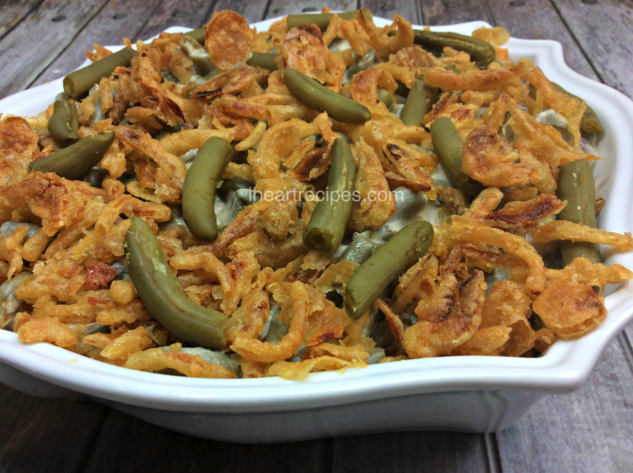 Fresh green beans, cream of mushroom soup, and crispy french fried onions make up this classic green bean casserole