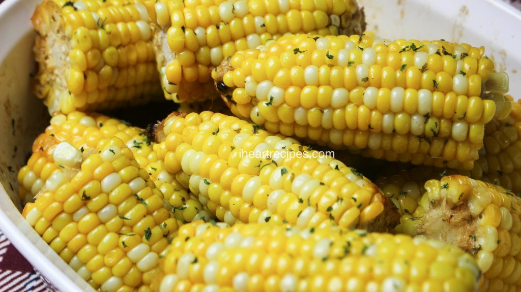 This oven baked corn-on-the-cob makes a great side dish.