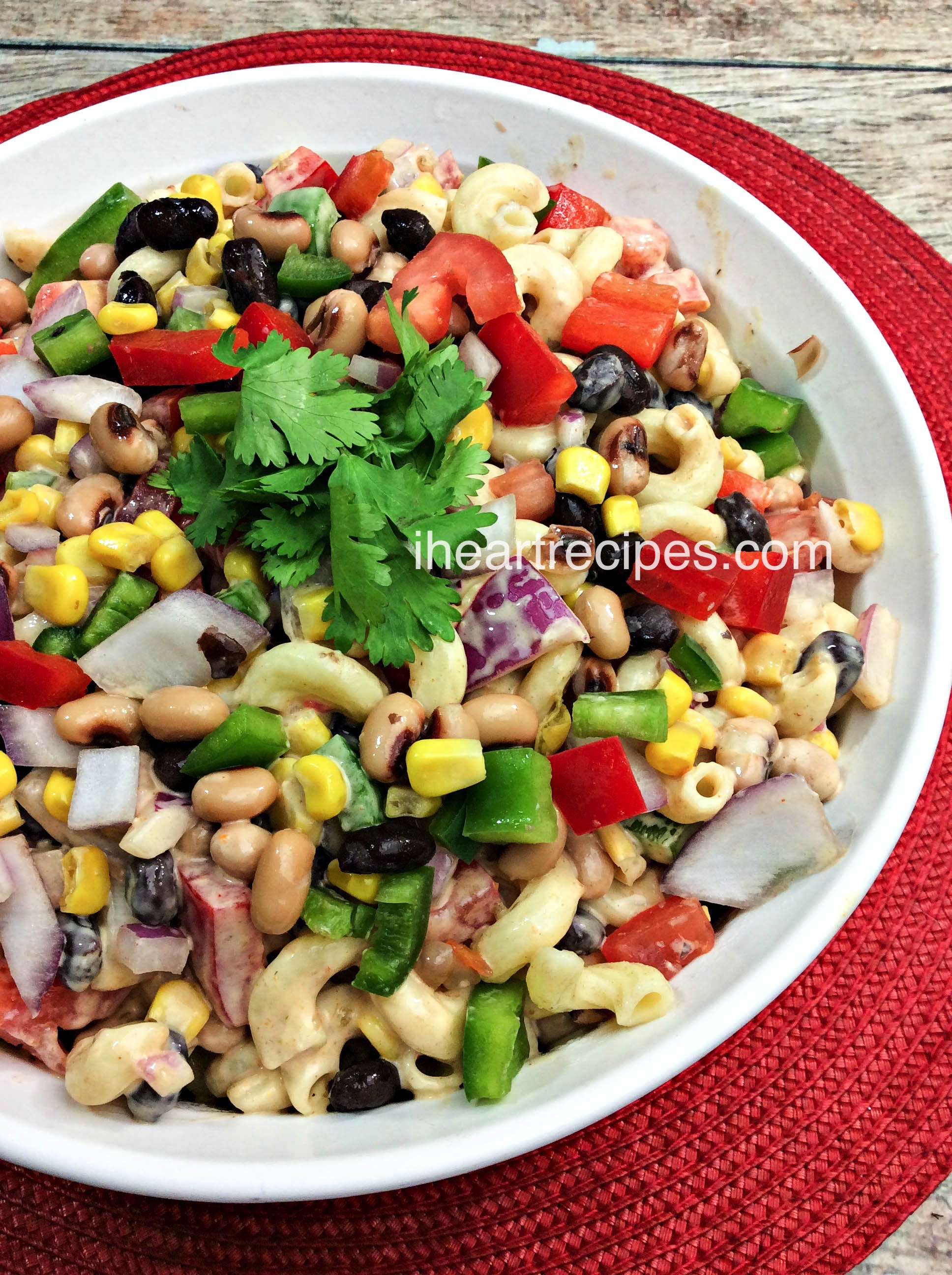 Texas Caviar Macaroni Salad | I Heart Recipes