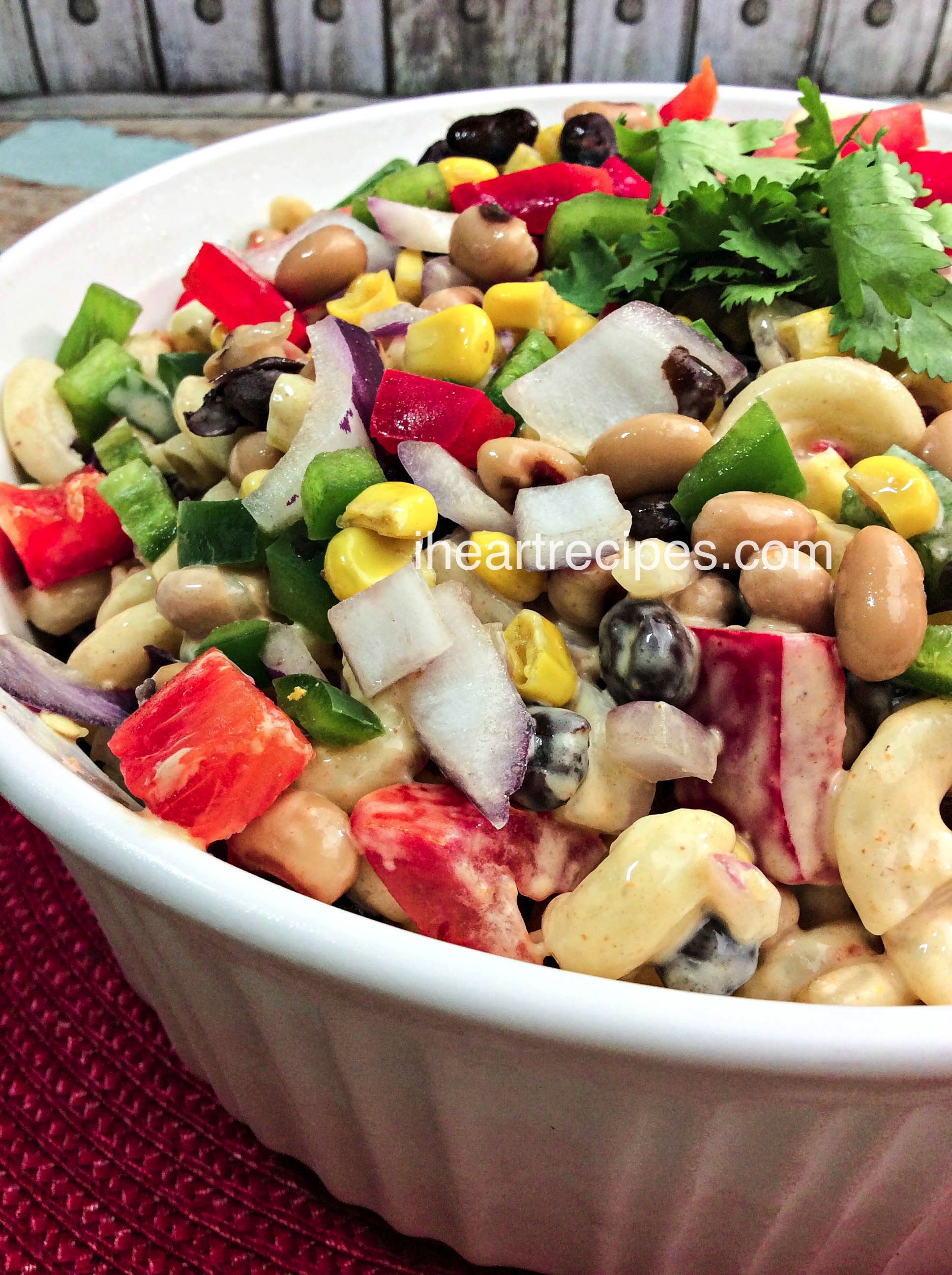 Texas Caviar is a classic southern salad. Toss in macaroni for a perfect summer pasta salad.