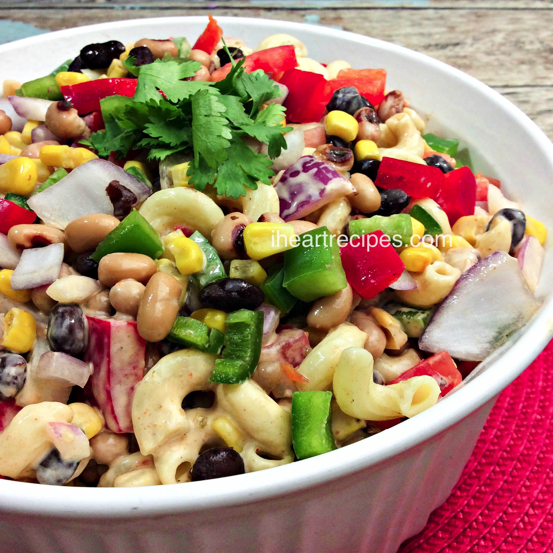 Whip this Texas Caviar Macaroni Salad up for a simple addition to any summer party