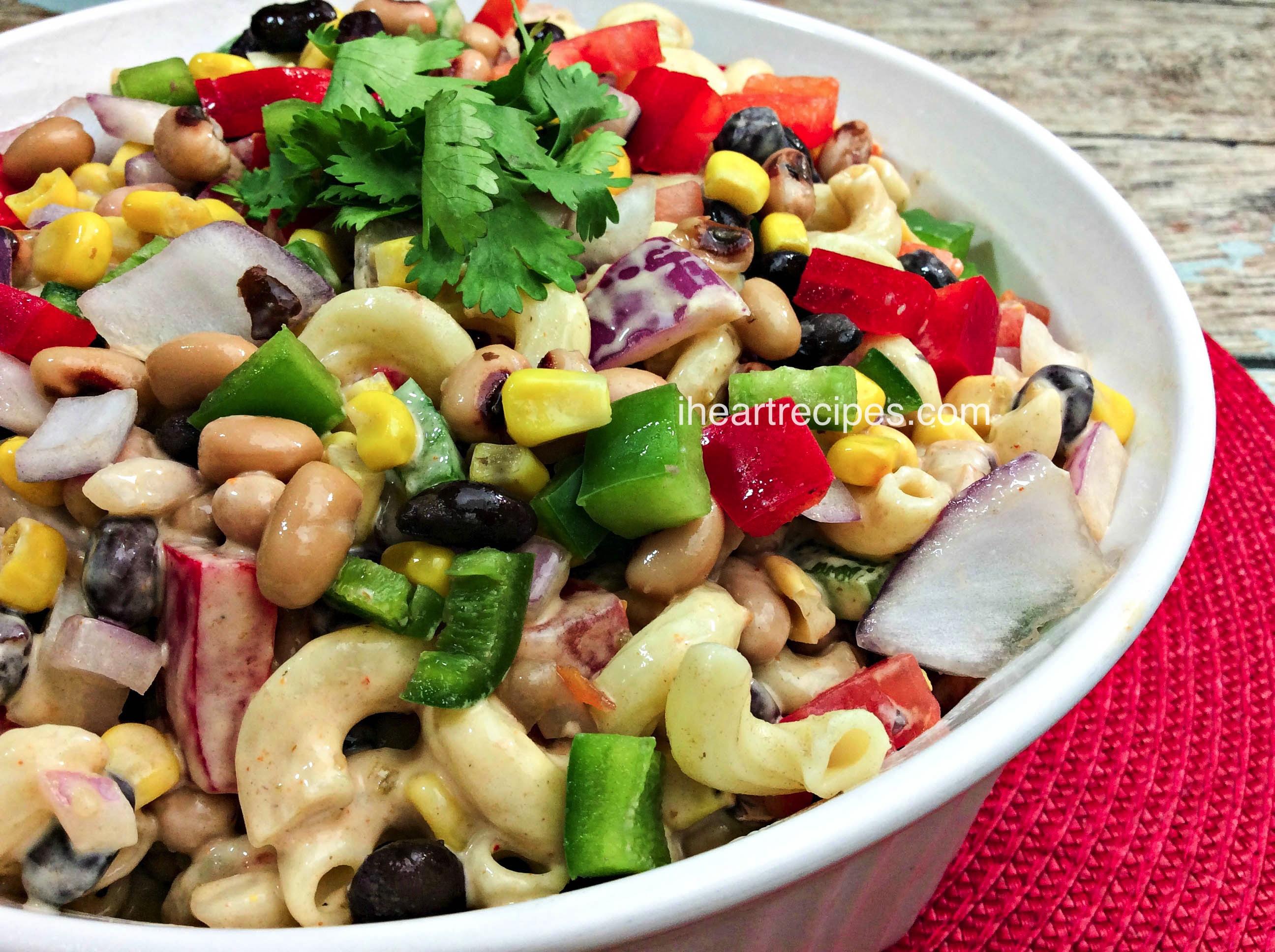 Texas Caviar Macaroni Salad is a refreshing summer salad with a kick of heat
