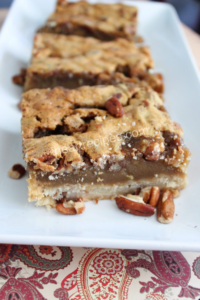 The soft caramel toffee pecan filling in these pecan bars is sweet with a slight bite of salt