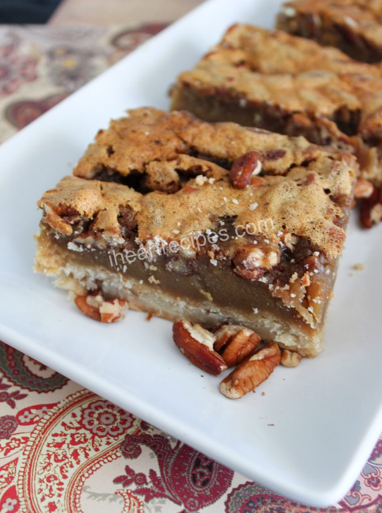These pecan bars are pecan pie on the go, a perfect holiday treat