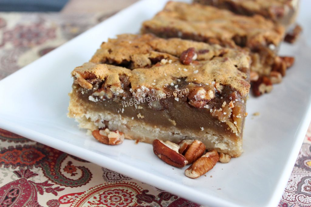 Sweet pecan filing and a crunchy top crust make these pecan bars a small slice of pecan heaven