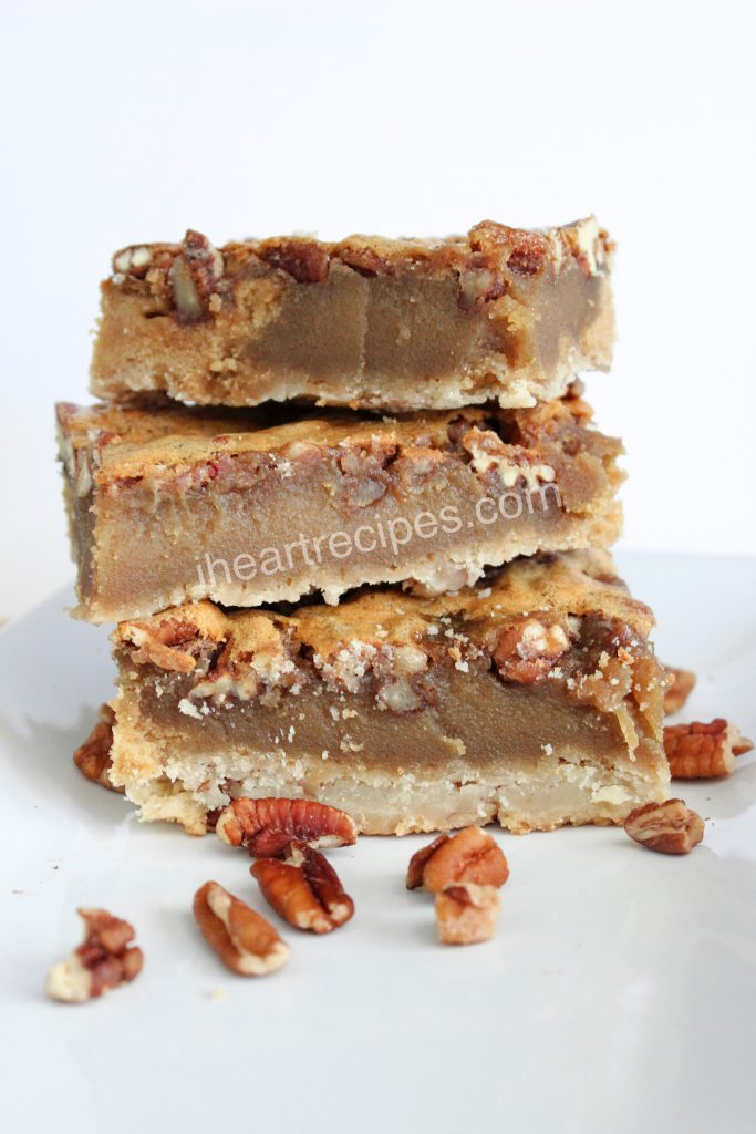 Sweet and salty come together in this traditional pecan bars recipe