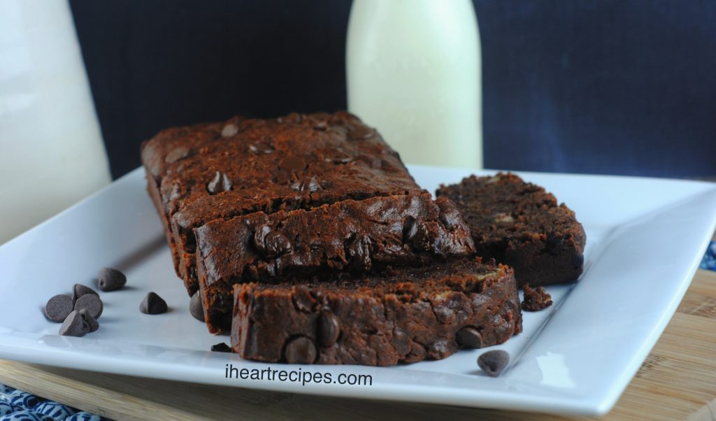Moist Chocolate Banana Bread is easy, gooey and decadent!