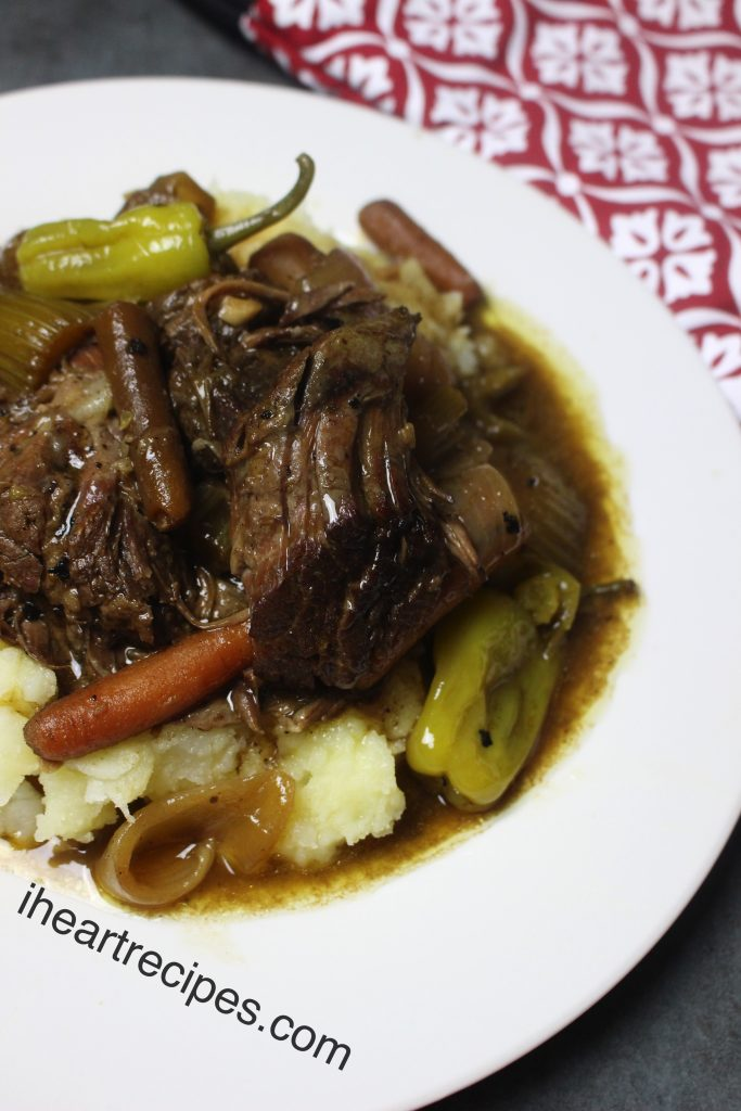 Serve this Mississippi Pot Roast over a bed of mashed potatoes with veggies