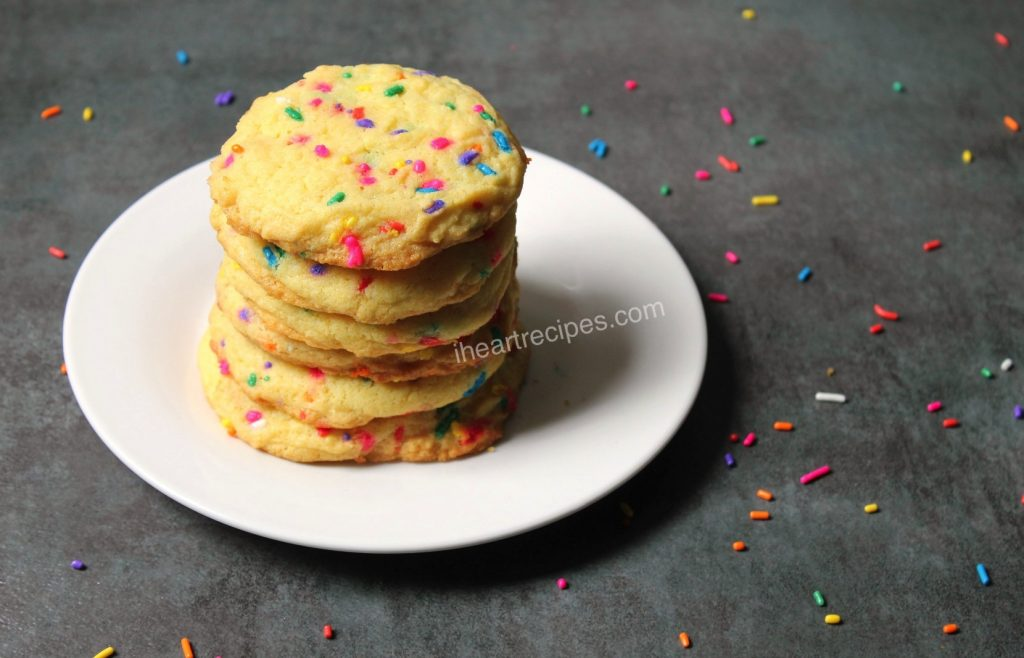 Confetti cake cookies are perfect for a fun and colorful party