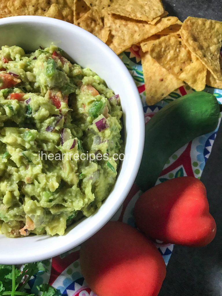 Jalapeños add a bit of spice to this guacamole recipe.