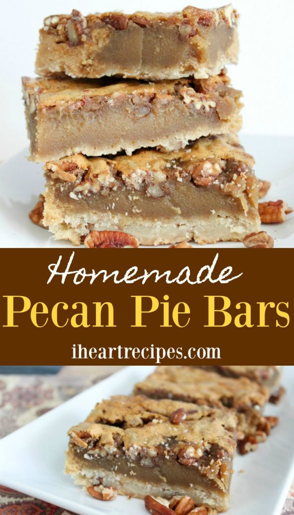 Homemade Pecan Pie Bars - a sweet treat perfect for the holiday dessert table