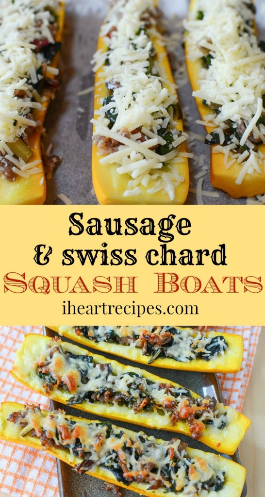 Sausage & Swiss Chard Squash Boats are colorful, fun and packed full of flavor!