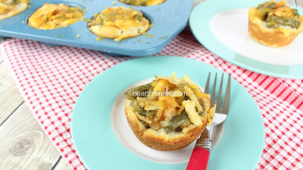 Green Bean Casserole Biscuit Cups are simple and quick!