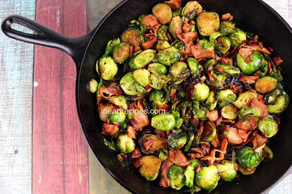 Roasted Brussels Sprouts with Balsamic Vinegar & Bacon from I heart Recipes