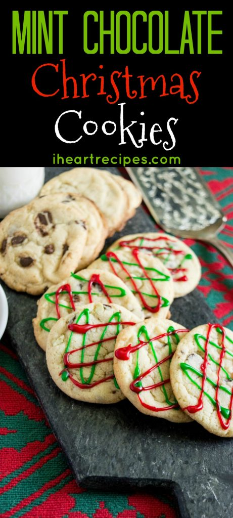 Mint Chocolate Chip Christmas Cookies | I Heart Recipes