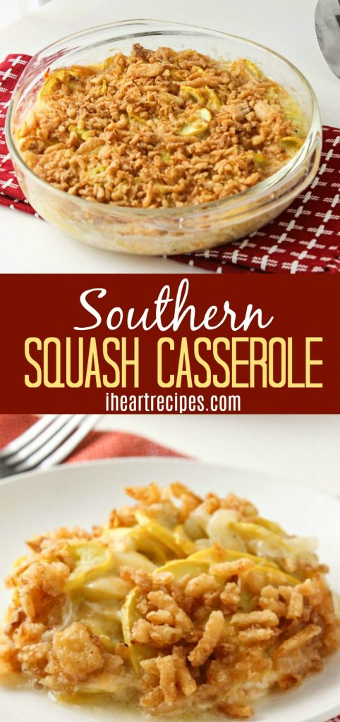 Southern Squash Casserole is creamy and cheesy with a bit of crunch, so good!