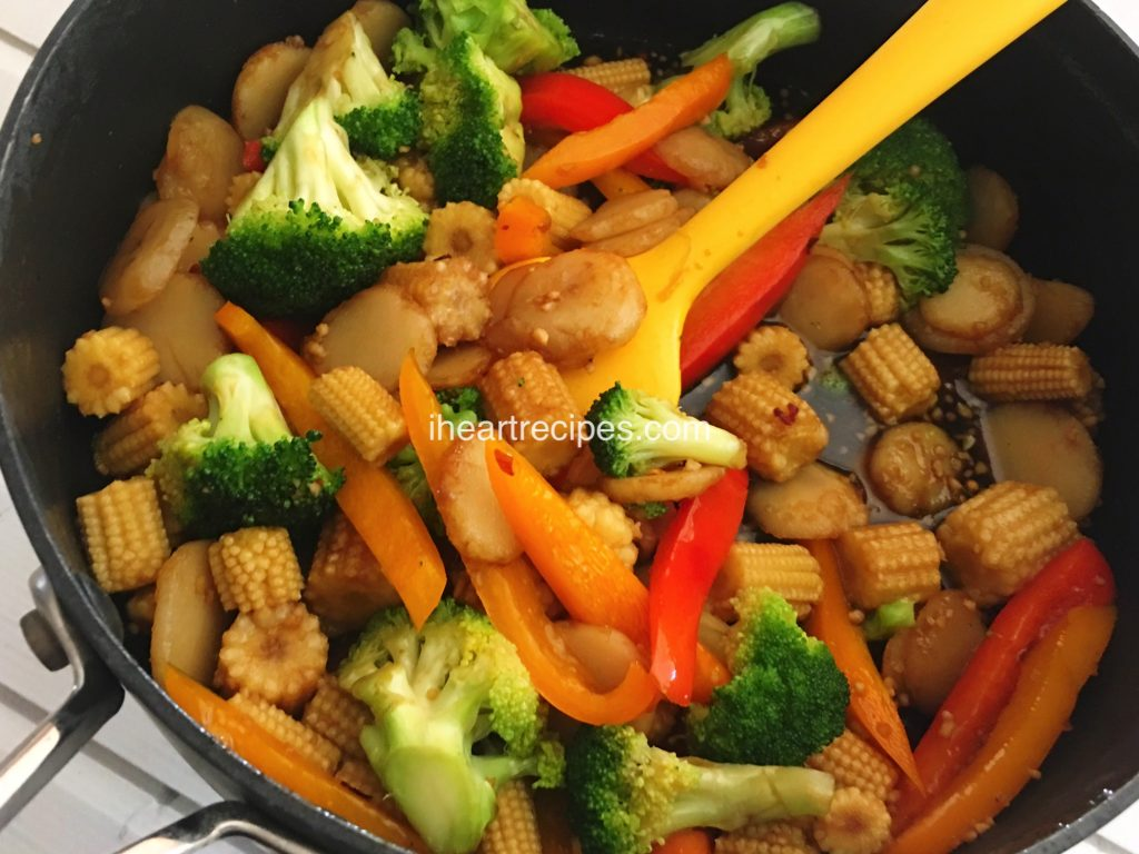 You can add your choice of protein to this vegetable stir fry for a hearty and filling dinner