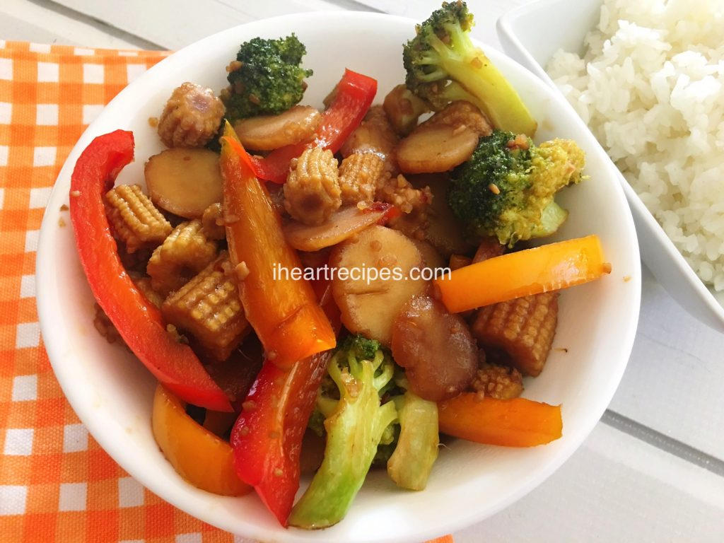 stir fry with broccoli, red peppers, baby corns, and water chestnuts