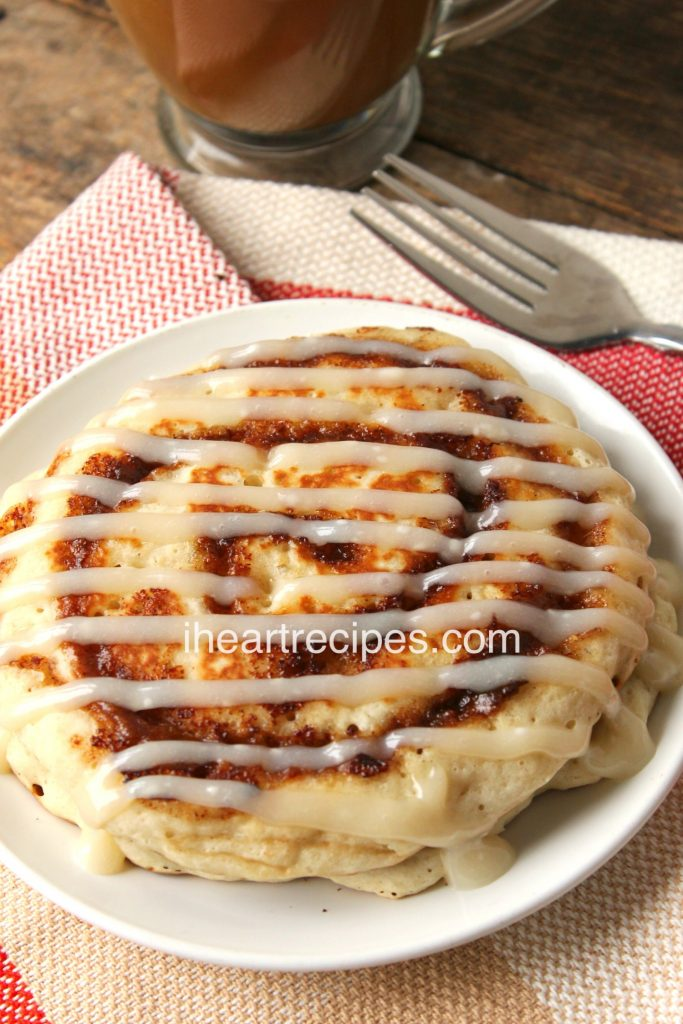 Cinnamon Roll Pancakes with Cream Cheese Icing are a sweet treat!