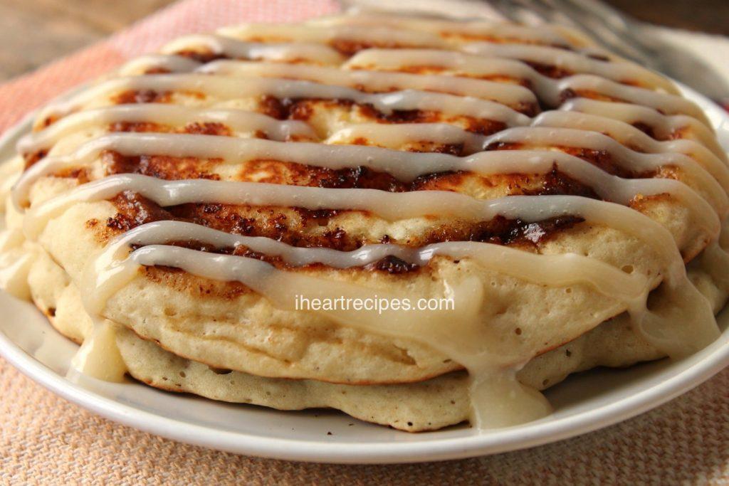Cinnamon Roll Pancakes with Cream