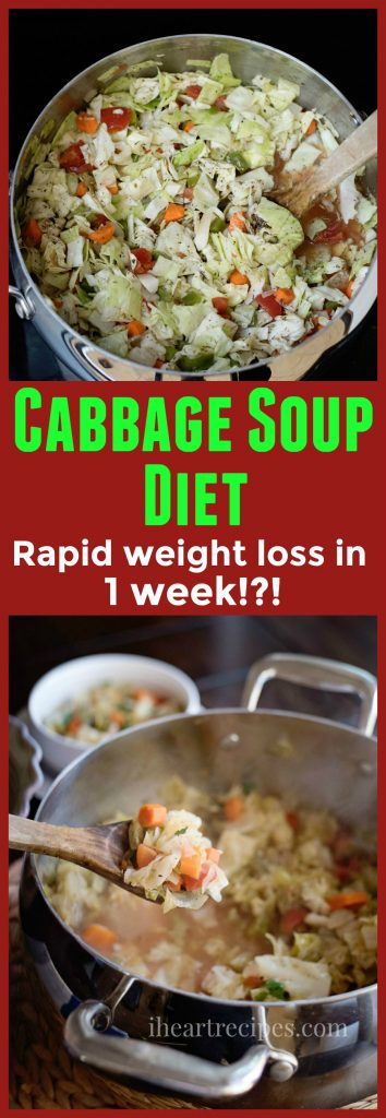 Try this Cabbage Soup Diet, recipe on I Heart Recipes.