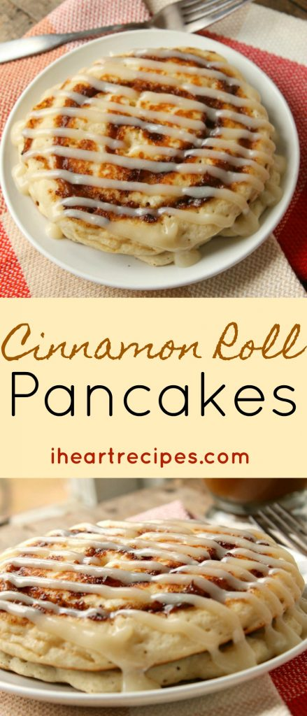 Cinnamon Roll Pancakes with Cream Cheese Icing | I Heart Recipes