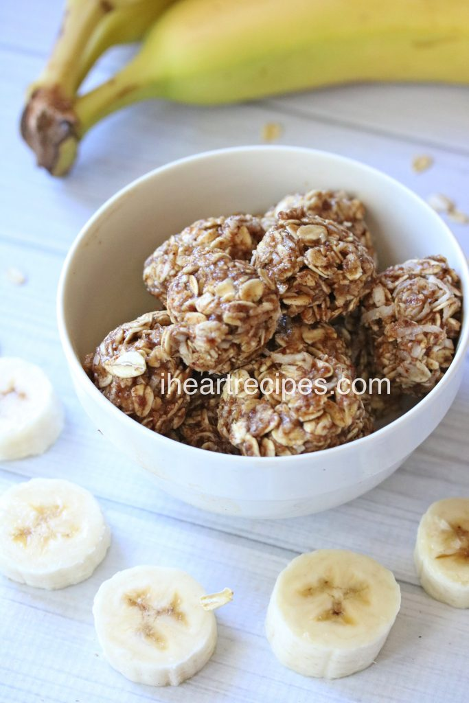These banana oat bites are little energy balls that are the perfect healthy snack