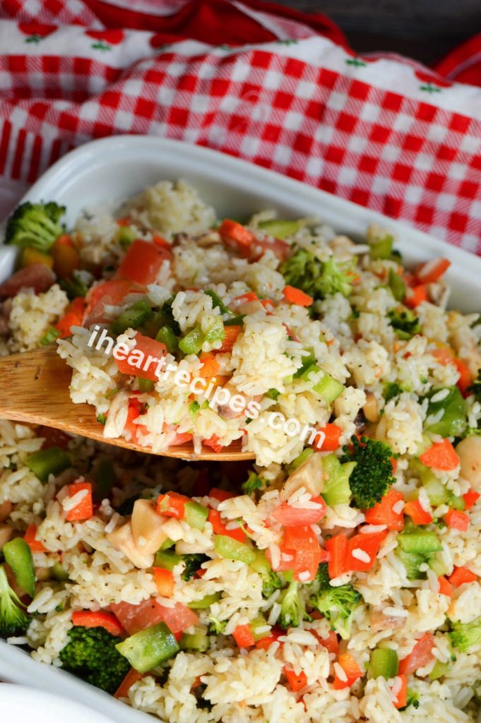 A quick summer rice salad that comes together in a few minutes and makes plenty of lunch leftovers