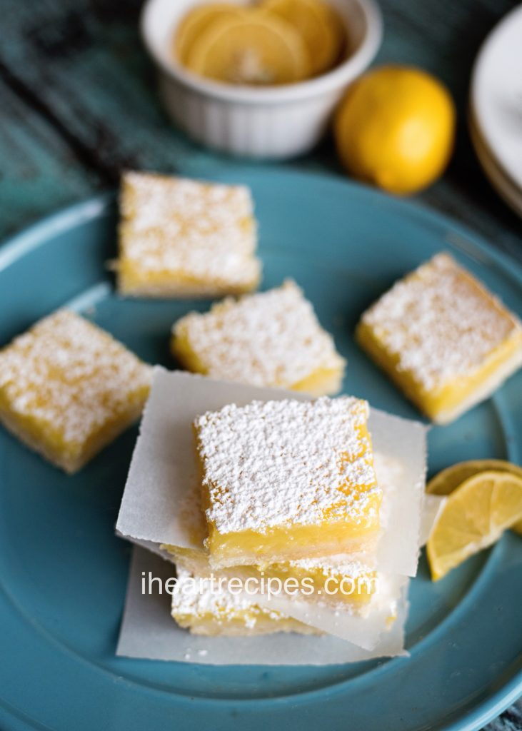 Sweet lemon filling and a dusting of powdered sugar make these lemon bars the perfect dessert