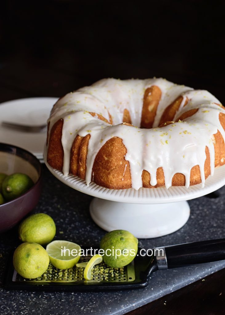 Key Lime Pound Cake with a sweet vanilla glaze