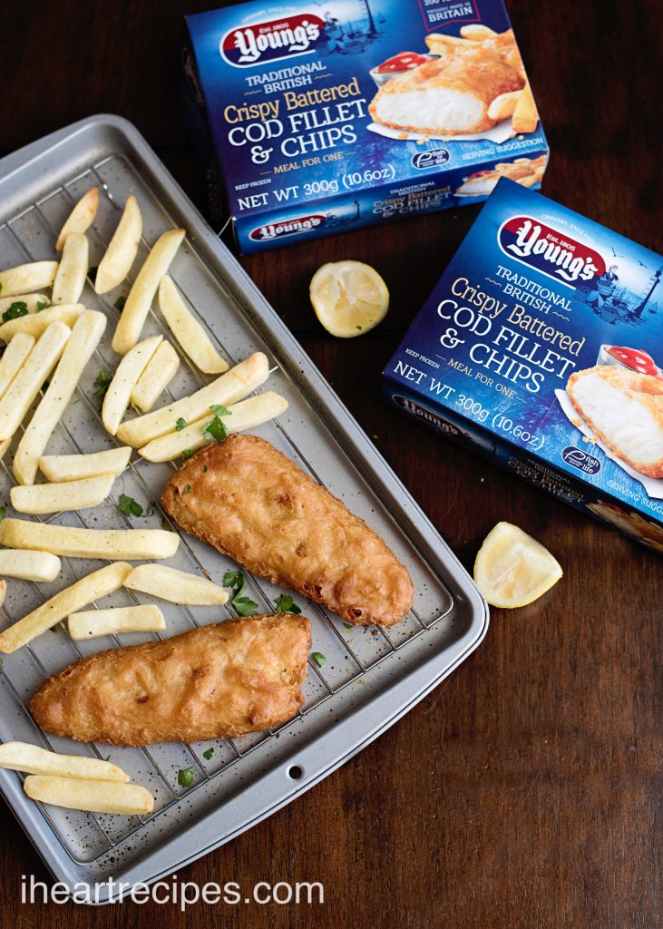 Youngs battered cod fillets and chips make this dinner an easy prep, easy clean up weeknight dinner